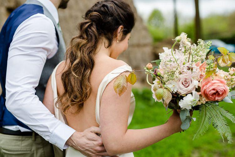 Tara Bradley Birt Bridal Wear // Environmentally Conscious Wedding Venue Casterley Barn In Wiltshire Organic Working Farm Stylish Barn Wedding Venue Images Lydia Stamps