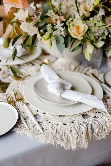 Macrame Place Mats For Wedding // Environmentally Conscious Wedding Venue Casterley Barn In Wiltshire Organic Working Farm Stylish Barn Wedding Venue Images Lydia Stamps
