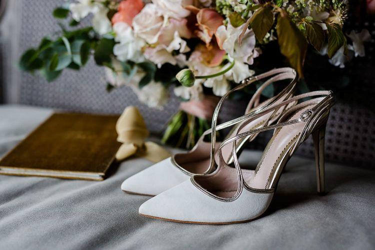 Emmy London Wedding Shoes // Environmentally Conscious Wedding Venue Casterley Barn In Wiltshire Organic Working Farm Stylish Barn Wedding Venue Images Lydia Stamps