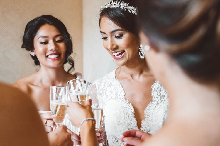 Wedding Morning Bridal Preparations with Bride and Bridesmaids Enjoying Champagne