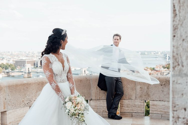 Bride in Pergola Rosa Clara Princess Wedding Dress and Groom in Traditional Morning Suit