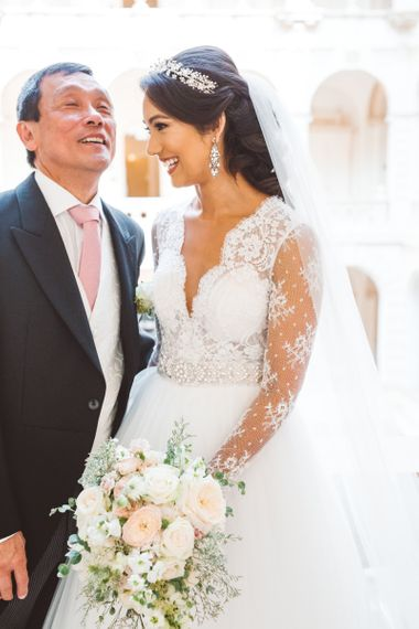 Father of The Bride and Bride in Pergola Rosa Clara Princess Wedding Dress