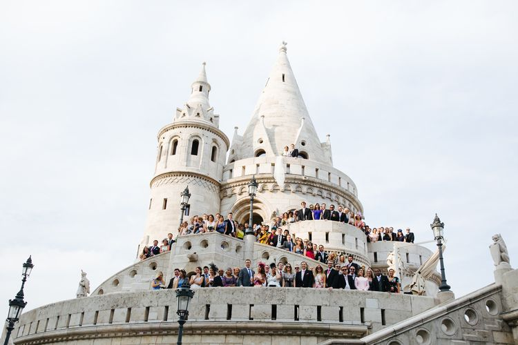 Wedding Guests Gathered on Fisherman's Bastion's Terrace