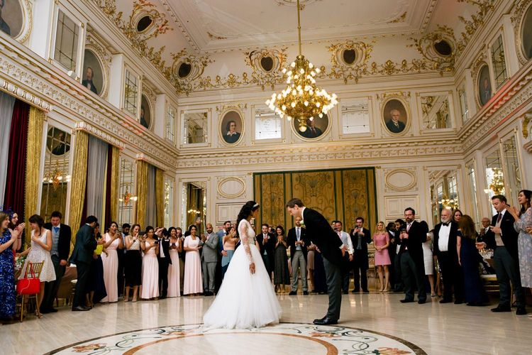 First Dance with Bride in Pergola Rosa Clara Princess Wedding Dress and Groom in Traditional Morning Suit