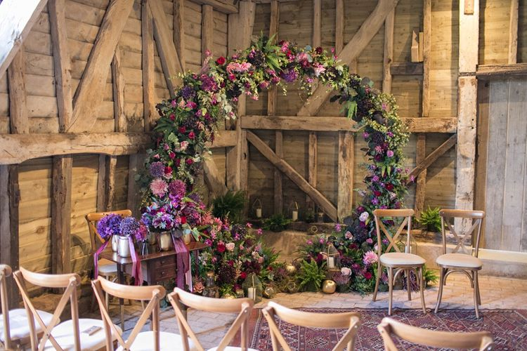 Purple, Plum, Aubergine and Berry Flower Moon Gate in a Rustic Barn