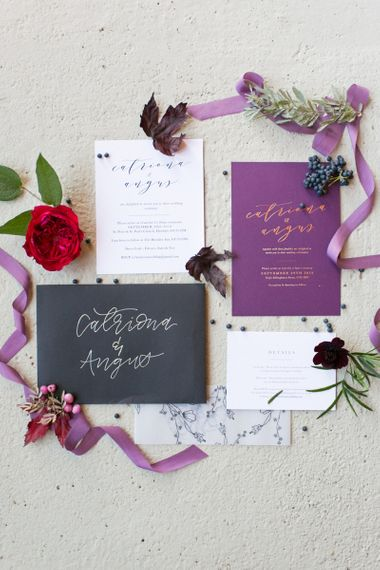Purple, White and Black Wedding Stationery Suite