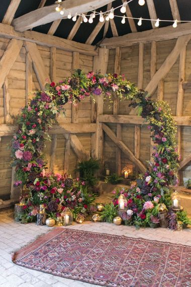 Purple, Plum, Aubergine and Berry Floral Moon Gate Altar with Moroccan Rugs