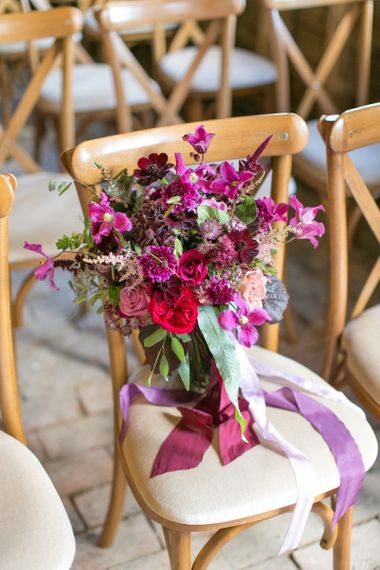 Purple, Plum, Aubergine and Berry Wedding Bouquet with Ribbon