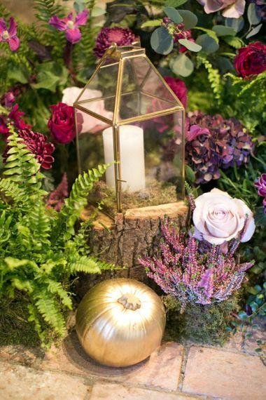 Tree Stump, Gold Spray Painted Terrarium and Pumpkins with Purple Wedding Flowers