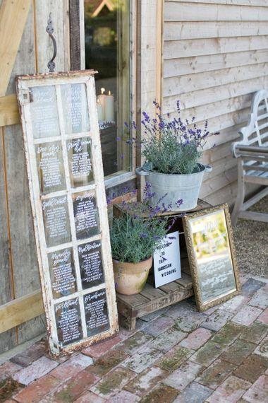 Window Pane Table Plan with Plant Pot Wedding Decor