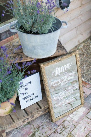 Mirror Menu Sign and Peg Board with Lavender Pots  Wedding Decor
