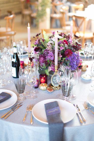 Purple, Plum and Aubergine Floral Centrepiece