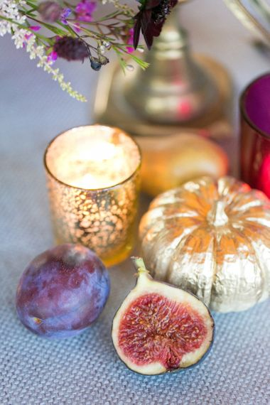 Gold Spray Painted Pumpkin and Candle in Votive Holder
