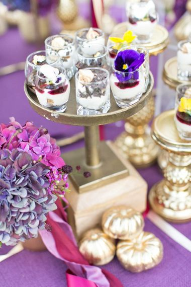 Gold Cake Stand with individual Desserts