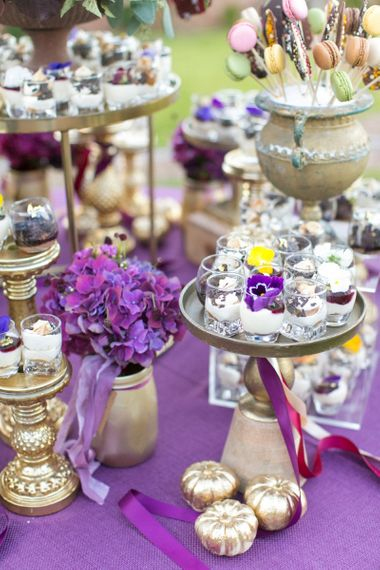 Gold Cake Stands and Individual Desserts