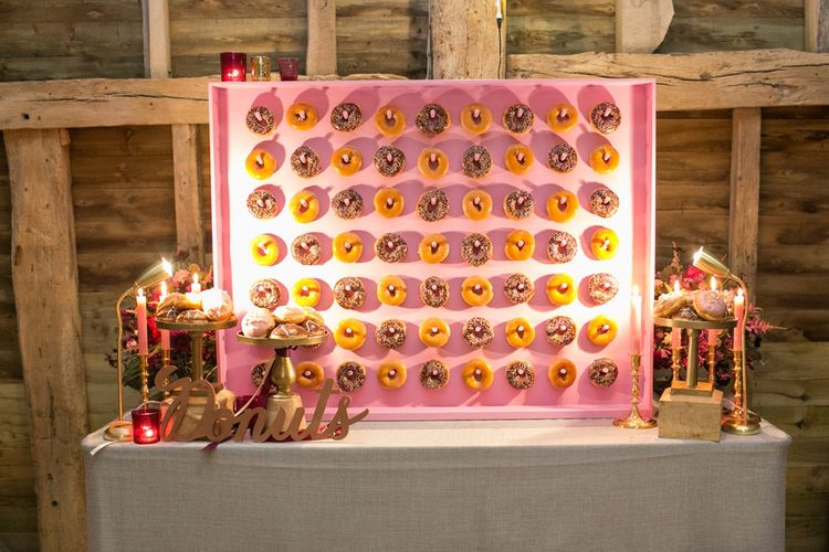Pink Doughnut Wall with Gold Donut Sign
