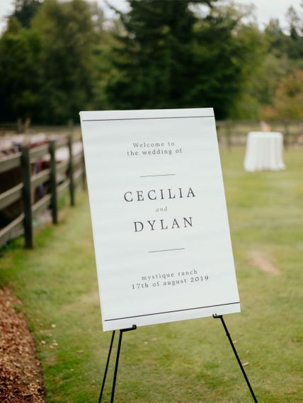 Minimalist wedding welcome sign