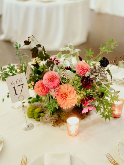 homegrown wedding flower centrepiece