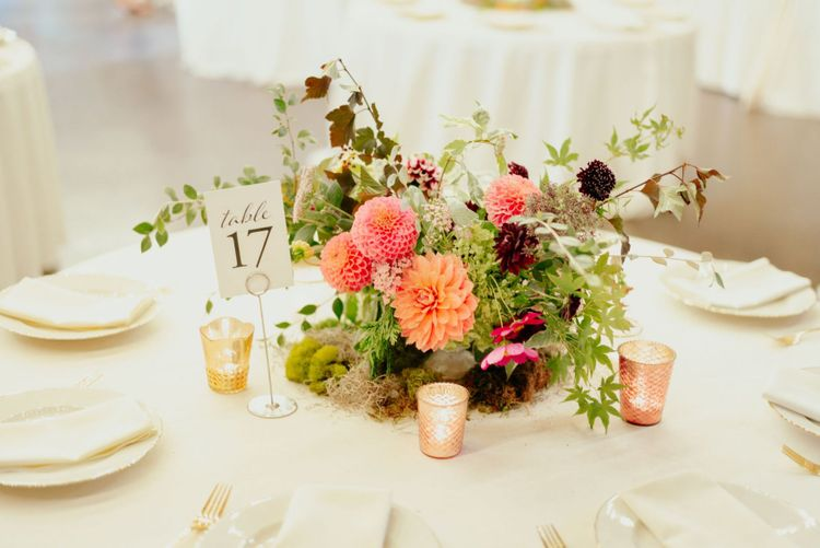 Pink and coral dahlia centrepiece flowers