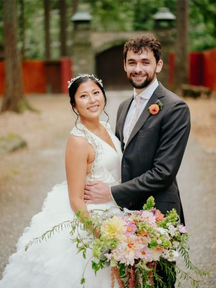 Multicultural wedding with Asian bride in preloved wedding dress