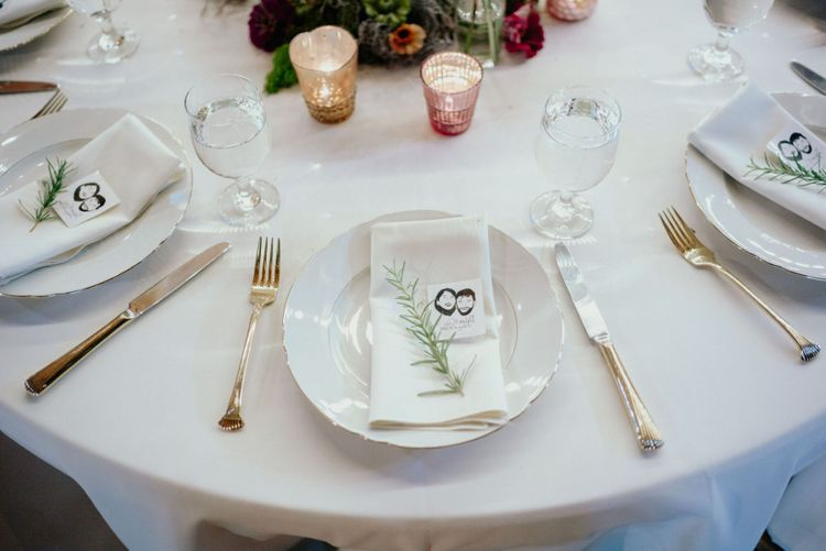 Place setting with personalised wedding tattoo favour