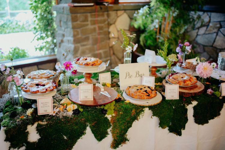 Pie bar as an alternative wedding cake