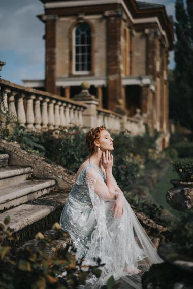Bride at Stoke Park Pavilions wedding venue in celestial dress