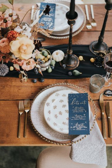 Autumn and celestial wedding table decor