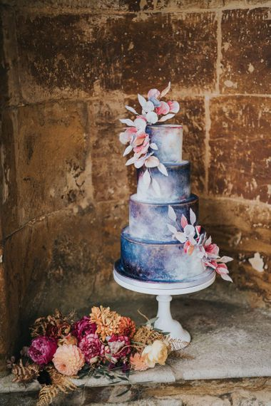 Blue and pink wedding cake by Cherry Tree Cakerie