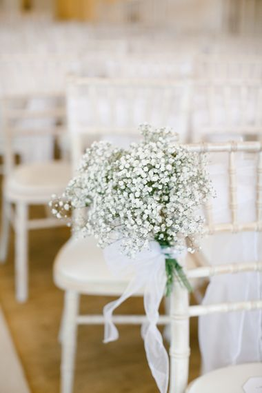 Gypsophila Chair Details For Wedding // Anna Campbell Embellished Wedding Dress For A Grey, White & Green Classic Wedding At Warwick House With Images By Chris Barber Photography