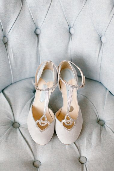 Charlotte Mills Wedding Shoes // Anna Campbell Embellished Wedding Dress For A Grey, White & Green Classic Wedding At Warwick House With Images By Chris Barber Photography