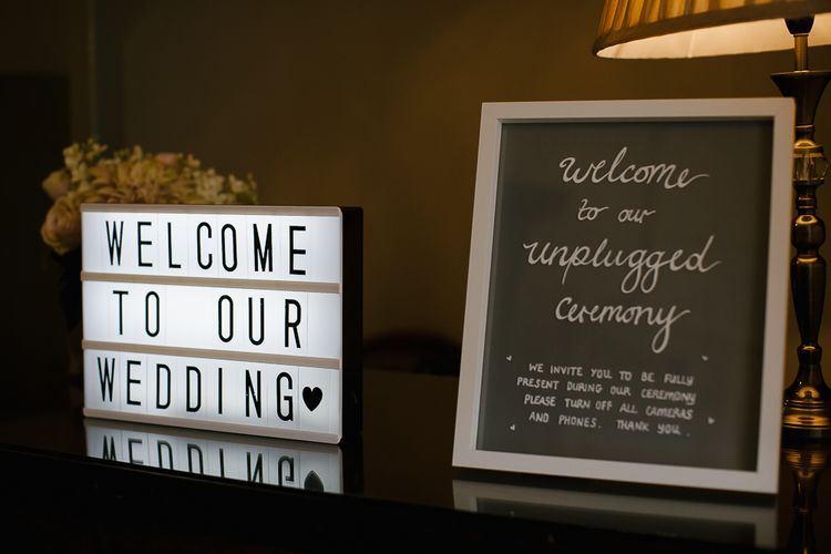 Welcome To Our Wedding Sign // Anna Campbell Embellished Wedding Dress For A Grey, White & Green Classic Wedding At Warwick House With Images By Chris Barber Photography