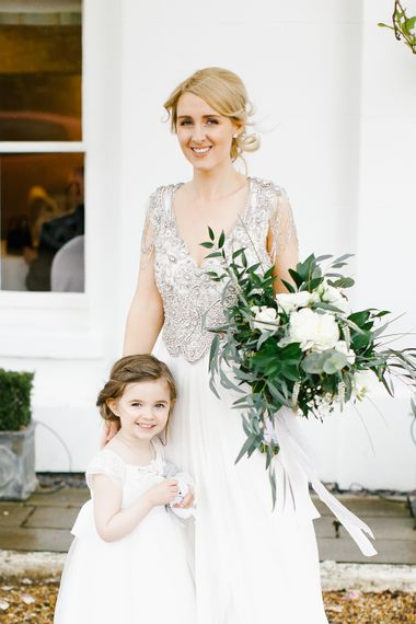 Anna Campbell Embellished Wedding Dress For A Grey, White & Green Classic Wedding At Warwick House With Images By Chris Barber Photography