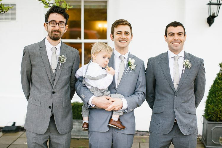 Groomsmen & Groom In Grey Suits // Anna Campbell Embellished Wedding Dress For A Grey, White & Green Classic Wedding At Warwick House With Images By Chris Barber Photography