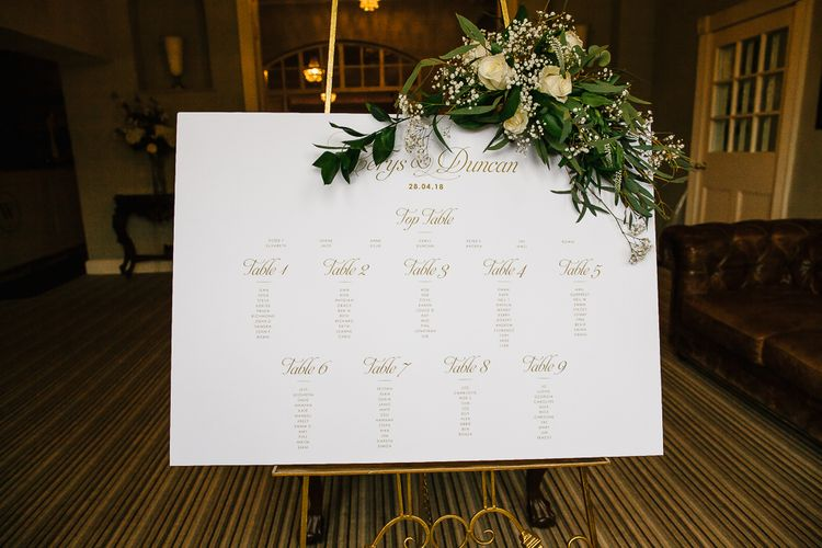 Elegant Gold Table Plan // Anna Campbell Embellished Wedding Dress For A Grey, White & Green Classic Wedding At Warwick House With Images By Chris Barber Photography