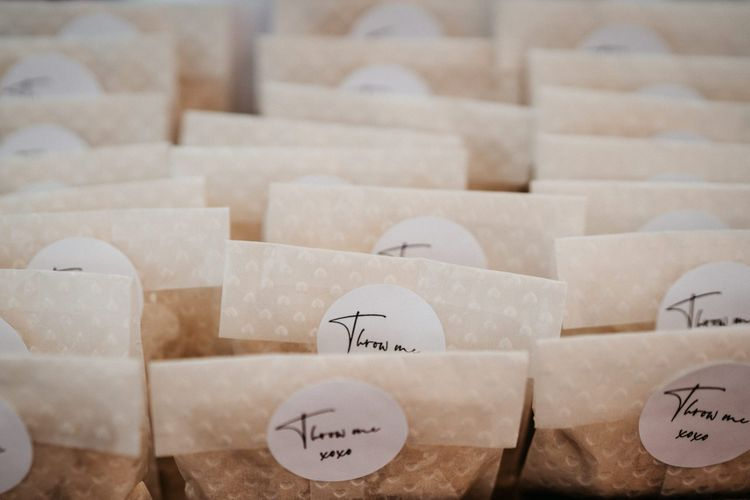 Confetti bags for tipi wedding with donut wall and grazing table