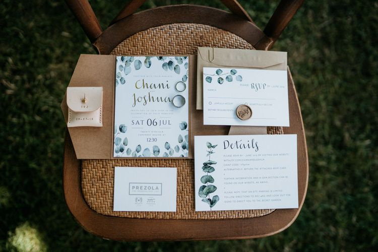 Wedding stationery with foliage detail
