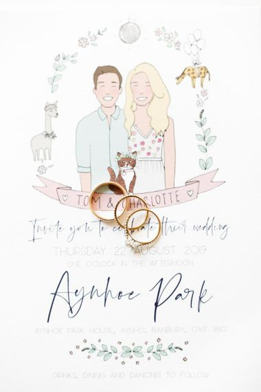 Illustrated wedding stationery with wedding  rings