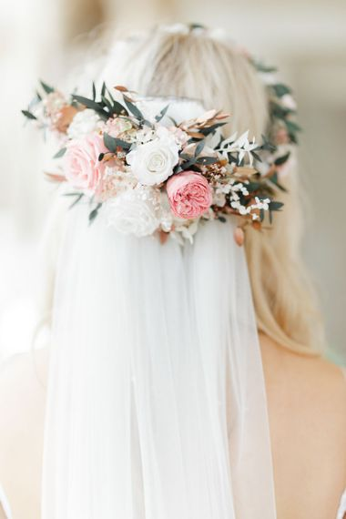 Pink wedding flower crown with veil for whimsical wedding