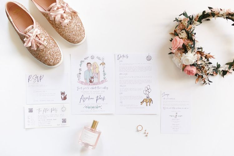 Wedding details with illustrated stationery and pink flower crown