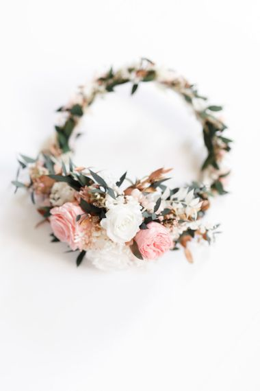 Pink flower crown for bride at whimsical wedding