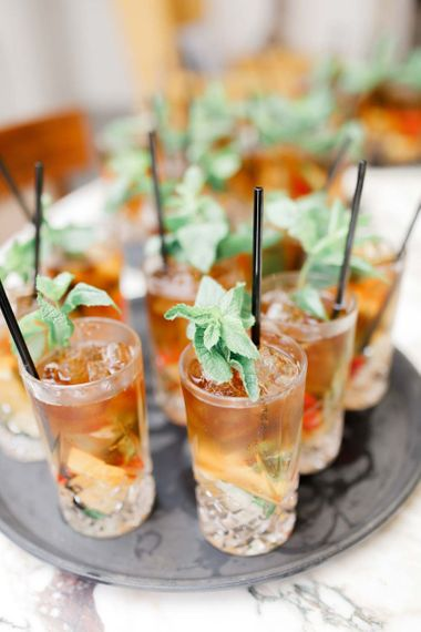 Wedding drinks for guests at whimsical wedding