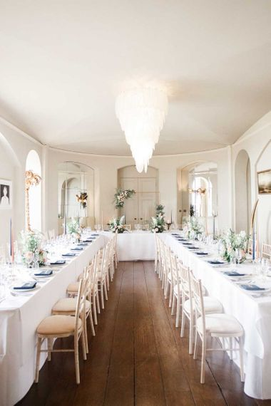 Intimate wedding breakfast for whimsical wedding in the Cotswolds