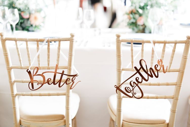 Wedding chair back decor with bride and groom signs