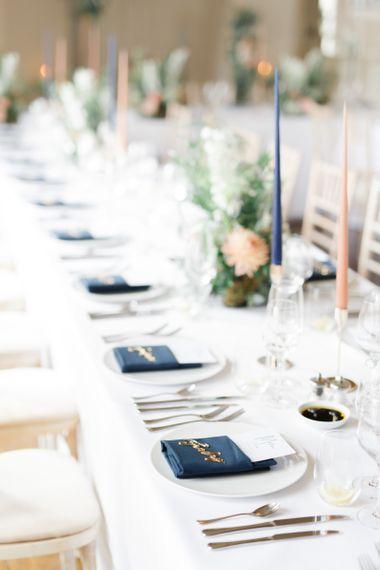Wedding table decor at whimsical wedding