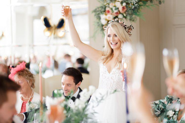 Bride makes a speech during reception