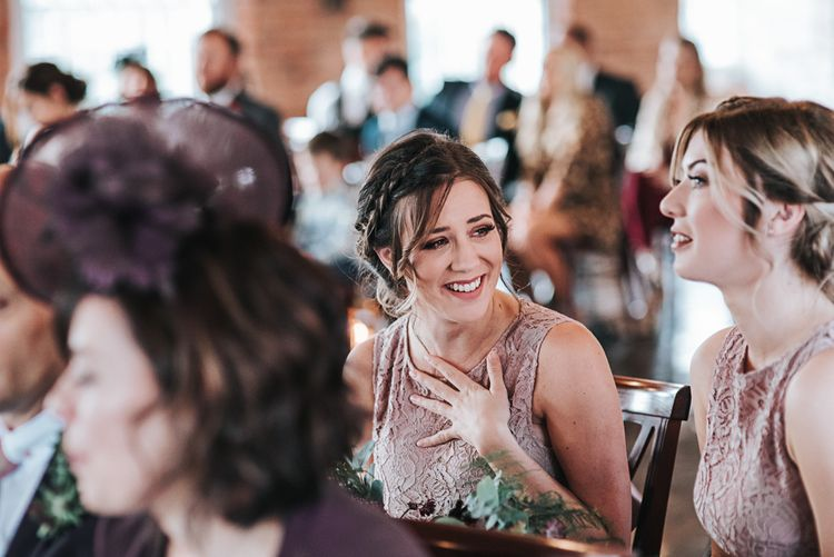 Emotional Bridesmaids in Mauve TFNC Halannah Dress during the Wedding Ceremony