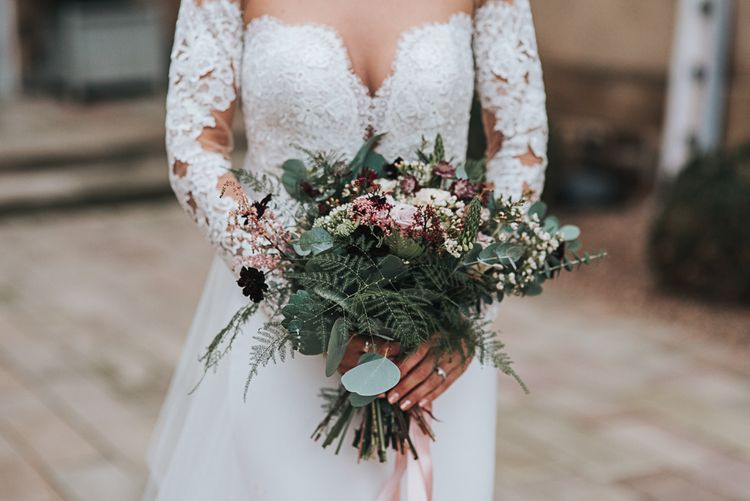 Foliage and Wild Flower Winter Bouquet with Bride in Lace Bardot Wedding Dress