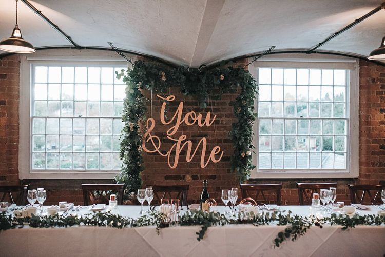 Giant Copper You & Me Top Table Wedding Reception Banner at Industrial Venue The West Mill in Derbyshire