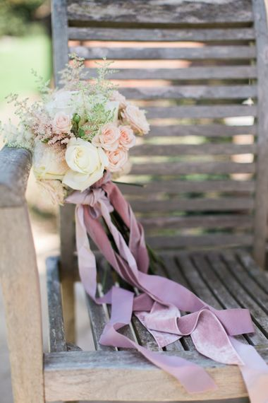 Pastel Wedding Bouquet With Ribbon // Needle & Thread Bridesmaids Dresses For A Pink And Mint At Home Marquee With Fine Art Photography From Amy Fanton Photography